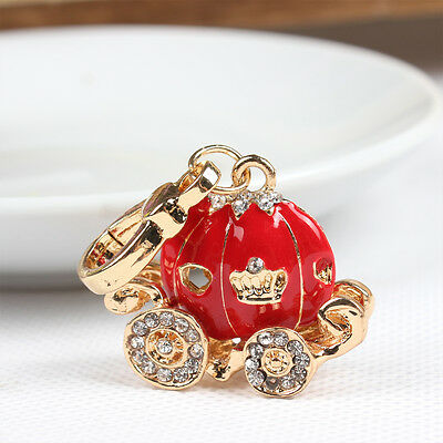 Red Pumpkin Carriage Charm Pendant New Fashion Rhinestone Crystal Exquisite Gift