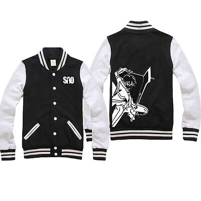 Anime Sword Art Online Kirito Casual Sweatshirt Baseball Jacket Coat Hoodie#S-C8
