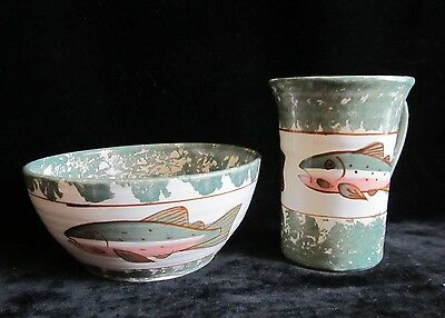 Shard Dover Foxcroft Maine Fishing Fish Pottery Mug & Bowl Cup Made in USA Maine