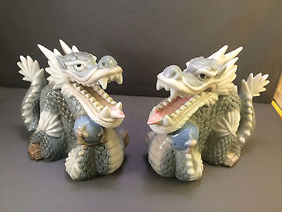 PAIR OF SIGNED YOSHIMI K PORCELAIN DRAGON FIGURES STATUES MADE IN JAPAN JAPANESE