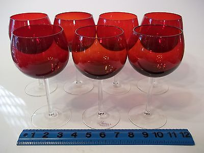 "7 PCS., VERY TALL, 7 & 1/4"" "" CRYSTAL "" RUBY, RED, WINE HOCKS OR WATER  GOBLETS"