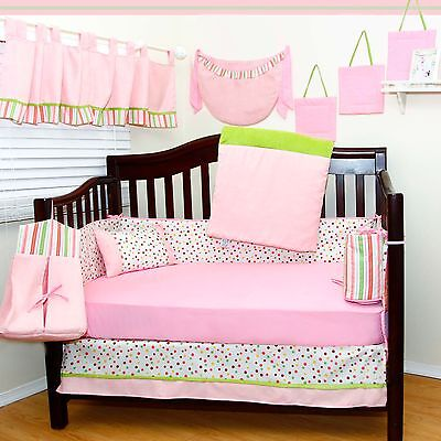 NEW NURSERY BABY BEDDING 13 PCS DISCOUNT Girls PINK CRIB SET 100% COTTON NEW