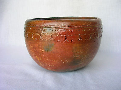 EARLY NAVAJO DINE COILED FIRED CLAY BOWL PINON PITCH STAMPED DESIGNS JIM WILSON