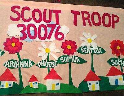 Scout Troop banner 3'X6' parade custom personalized felt-giant flowers