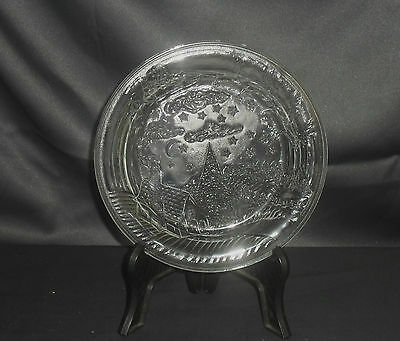 Vintage 1980's Clear Pressed Glass Decorative Plate. Winter Scene.
