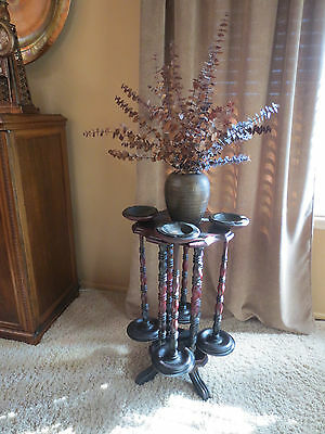 RARE ANTIQUE CUSTOM MADE WOOD SMOKING STAND WITH REMOVABLE STANDING ASHTRAYS