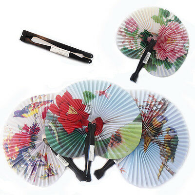 Chinese Paper Folded Fans Asian Floral Folding Decor Retro Fancy Dress Accessory