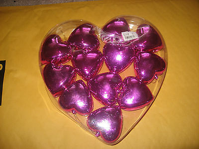 Valentines Day Box of 12 Heart Ornaments Pink New