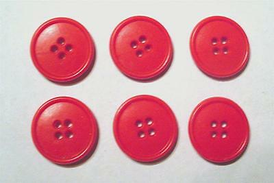 """SET OF SIX VINTAGE 1960's RED PLASTIC 11/16"""" ROUND 4-HOLE SEWING BUTTONS"""