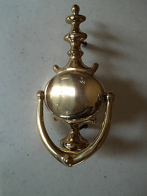 "Solid Polished Brass Door Knocker, 4 1/2"" by 8 1/2"", Free S/H"