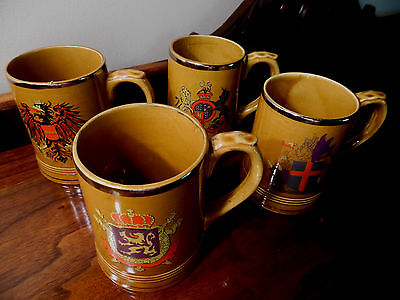 German Lion Crest Tavern Mugs Lot of 3 Collectible Brown Coffee Cups Beer Steins