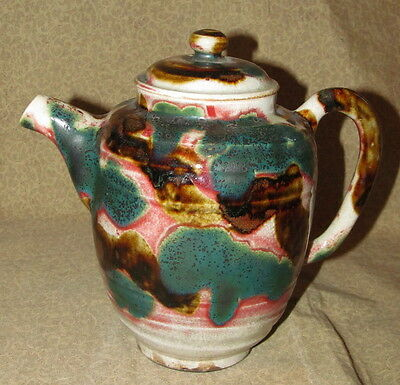 Early Antique Japanese Oribe Tea Pot Teapot Signed
