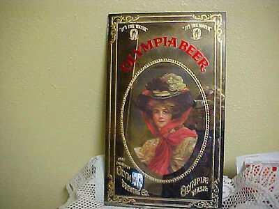 VINTAGE RARE OLYMPIA BEER MIRROR SIGN 1909 CHEERS OLYMPIA BREWING CO.