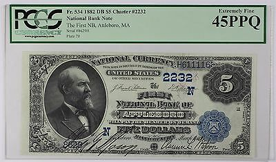 1882 First National Bank Attleboro Second Charter Period 2nd Issue $5 PCGS EF45