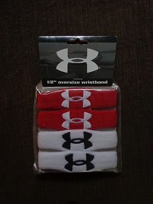 "Under Armour 1/2"" Oversize Wristbands White/Red/Black Adult Unisex 2 Pairs - New"