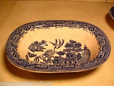 Large Vintage Bristish Anchor Pottery Blue Willow Oval Vegetable Bowl