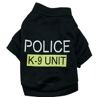 Cool Police Style Undershirt Summer Pet Cat Puppy Dog Clothes Vest T-Shirt M US
