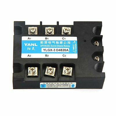 Three Phase SSR Solid State Relay DC AC 3-32VDC to Load 480VAC 20A High Quality
