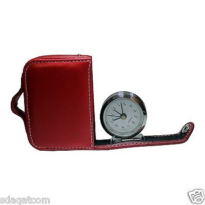 Travel Alarm Clock in a Faux Leather Case, Red