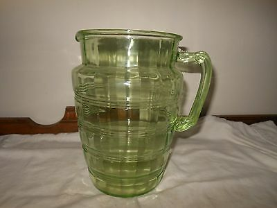 """8 1/2 """" T ANCHOR HOCKING DEPRESSION GLASS GREEN Banded Ring WATER/JUICE PITCHER"""