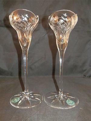Beautiful Lenox Crystal X2 Pair Candlesticks Tulip Shape Top With Flower Pattern