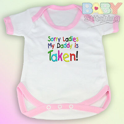 """Sorry Ladies My Daddy Is Taken!"" Embroidered Baby Vest Pink Trim Baby Girl Gift"