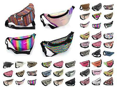 Canvas Bum Bag Fanny Pack Travel Money Holiday Boho Festival Neons Floral Tribal