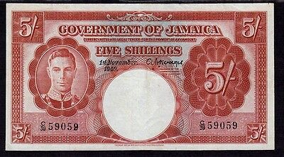 Jamaica, 5 Shillings 1940, p37a *King George*