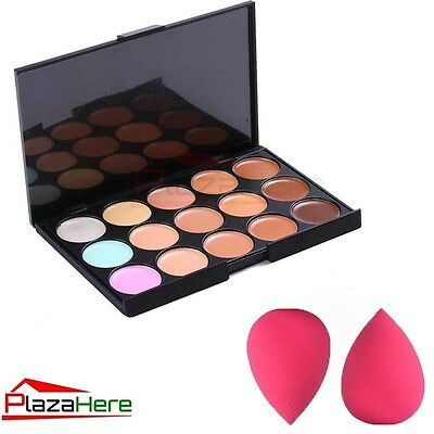 New 15 Colors Contour Face Cream Makeup Party Concealer Palette +2 Sponge Puff