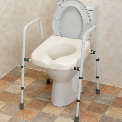 Disabled Toilet Seat Frame Raised Support Height & Width Adjsutable Disability