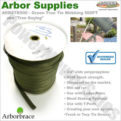 "ARBSTR500 - Arbor supplies Green Tree Tie Webbing 500FT x 3/4"" - Tree Guying"