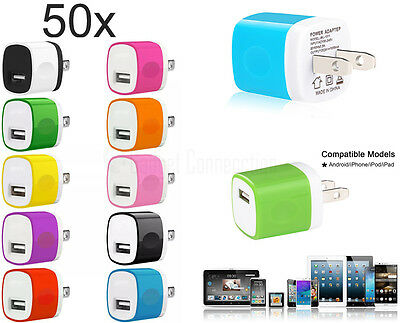 50x 1A USB Wall Charger Portable Travel AC Home Power Adapter FOR iPhone Samsung