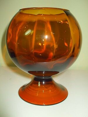 Vintage New Martinsville Ribbed Amber Rose Bowl Footed Inclusions Wavy Glass VVG
