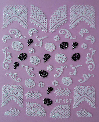 Glitter Lace Tips Roses Scroll 3D Nail Art Stickers UV Acrylic Tips Decoration