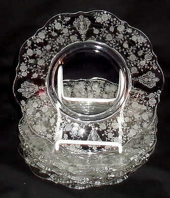 "6 Cambridge ROSE POINT CRYSTAL *6 1/2"" BREAD & BUTTER PLATES *3900/20"