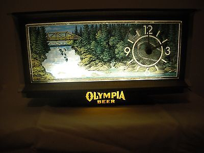 OLYMPIA BEER LIGHTED CLOCK WITH WITH MOTION WHEEL ROARING RAPIDS!!!