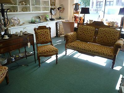 Amazing Victorian Eastlake Parlor Set, 3 Pieces, Settee, His and Her Chairs