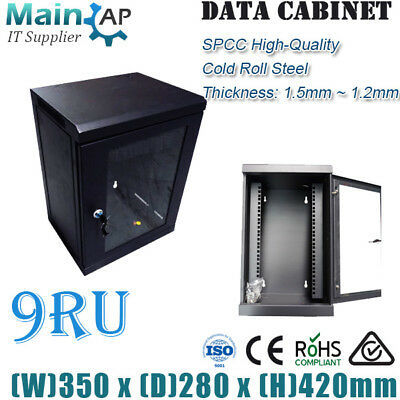 "9RU 280mm DEEP 10"" 10inch WALL MOUNT RACK SERVER CABINET"