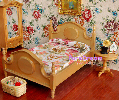 1:12 Dollhouse Bedroom Furniture Bed With Mattress #WB0562