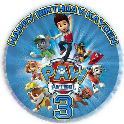 PAW PATROL Round Edible ICING Image Birthday CAKE Topper Decoration