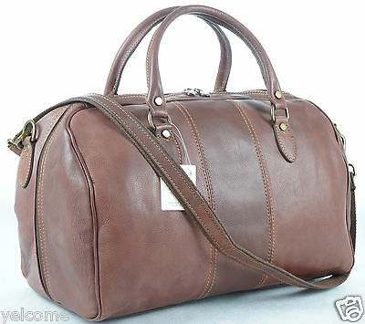 Genuine Italian Leather Weekend Gym Duffle Travel Overnight Bag Holdall Luggage