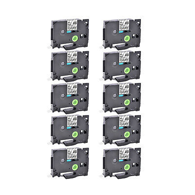 10PK TZ-131 12mm Black on Clear Label Tape TZe-131 For Brother P-Touch PT-2030