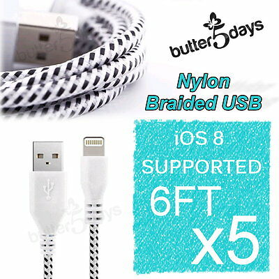 5x 6FT Nylon Braided Data Sync Charger USB Cable for iPhone 6 Plus 5 5C 5S