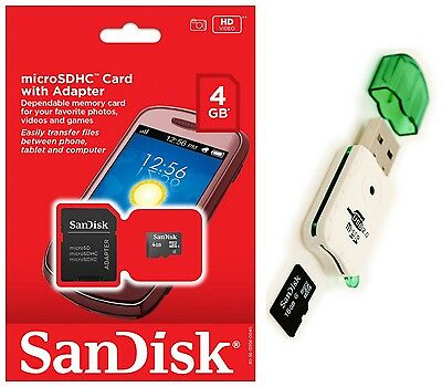 Sandisk 4GB Micro SD SDHC MicroSD Flash Memory with Adapter + USB Card Reader