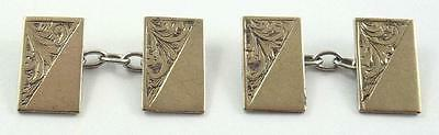 Lovely Pair of Vintage 9 ct Gold on Sterling Silver Cufflinks c. 1930-40's