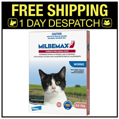 Milbemax Allwormer For Kittens & Cats 0.5-2kg 2 Tablets Intestinal Wormer
