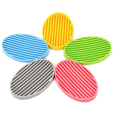 1PC Fashion Silicone Flexible Soap Dish Plate Bathroom Soap Holder
