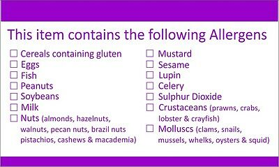 42 allergen / allergy tick list labels for food industry labeling requirements