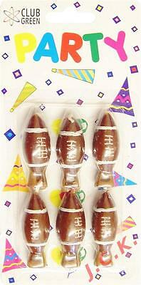 Pack Of Six Rugby Ball Or American Football Celebration Birthday Cake Candles