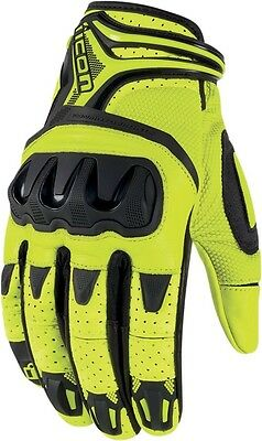 Icon Overlord Resistance Leather/Textile Gloves Md HI Viz Yellow 3301-2035